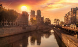 Notre Dame cathedral against sunrise in Paris, France - 194045779