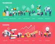 Flat design style web banners of teamwork and success. Vector illustration concepts for business workflow and success, project management, team building.