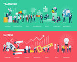 Flat Design Style Web Banners Of Teamwork And Success  Illustration Concepts For Business Workflow And Success Project Management Team Building Wall Sticker