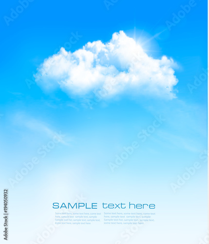 Vector background with blue sky and white clouds.
