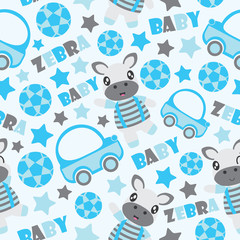 Seamless pattern of zebra boy and toys vector cartoon illustration for kid wrapping paper, kid fabric clothes, and wallpaper