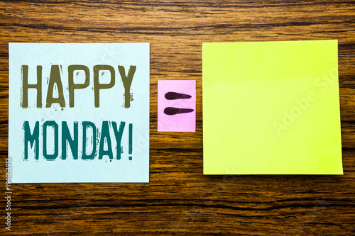 Word, writing Happy Monday . Business concept for New Week Motivation written on sticky note paper on wooden background. Equation mathematical sign for your space