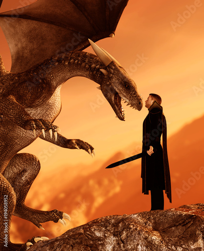 Knight and the dragon in magical landscape,3d art illustration for book illustration or book cover - 194058952