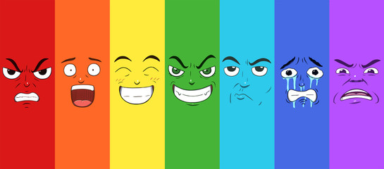 Various faces showing different emotions in a rainbow pattern. Anger, surprise, happiness, evilness, doubtful, sadness and disgust. © Guilherme Yukio