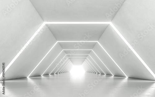 Illuminated corridor interior design. 3D rendering © pom669