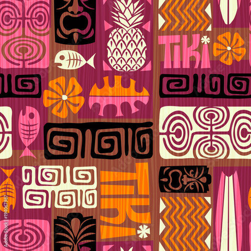 Cotton fabric Seamless Exotic Tiki Pattern. Vector illustration