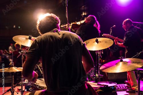 Drummer playing hard