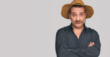 funny man with mustache wearing shirt and hat - 194088120