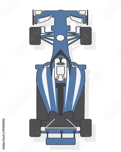 Fotobehang F1 Formula car, racing car isolated on white background. Top view. Vector illustration.
