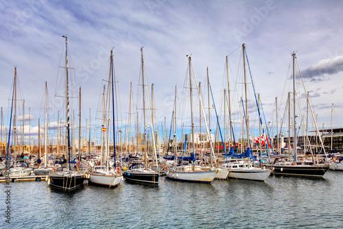 Foto op Canvas Barcelona Port of Barcelona, Spain. Yachts, sailing boats