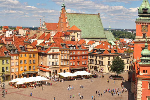 A view from above of the Warsaw old city and the surrounding buildings on a summer  day