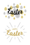 Easter  greetings card backgrounds. Gold - silver typographic calligraphic lettering with black rays isolated on white background. Congratulations easter badge. Religious holiday sign. Vector