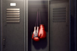 Open Locker And Hung Up Boxing Gloves - 194103715