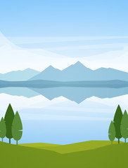 Vector illustration: Vertical Summer Mountains Lake landscape with reflection and trees on foreground © deniskrivoy