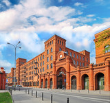 Genuine industrial architecture, with unplastered red brick buildings - 194108757