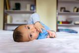 Eurasian baby on bed - 194114590