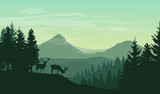 Vector atmospheric landscape with silhouettes of mountains, hills, forest and two deers