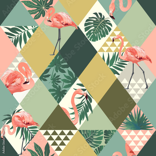 Exotic beach trendy seamless pattern patchwork illustrated floral vector tropical leaves. Jungle pink flamingos print background.