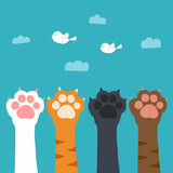 Cat paw catch bird on sky cartoon vector illustration