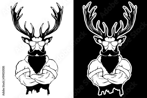 Fotobehang Hipster Hert Steep fashionable deer Hipster animal. Vintage style illustration for tattoo, logo, emblem