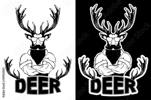 Aluminium Hipster Hert Steep fashionable deer Hipster animal. Vintage style illustration for tattoo, logo, emblem
