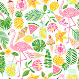 Fototapety Vector tropical seamless pattern. Summer background
