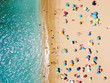 Quadro Aerial View From Flying Drone Of People Crowd Relaxing On Beach In Portugal