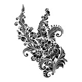 black and white floral ornament in folk style  - 194138151