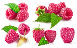 Set berry raspberry with green leaf. Collection fruit still life - 194138993