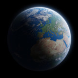 View of blue planet Earth in space 3D rendering elements of this image furnished by NASA - 194140335