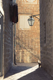 A cat in a ray of light on a narrow street of the Old Town in Budva, Montenegro - 194148331