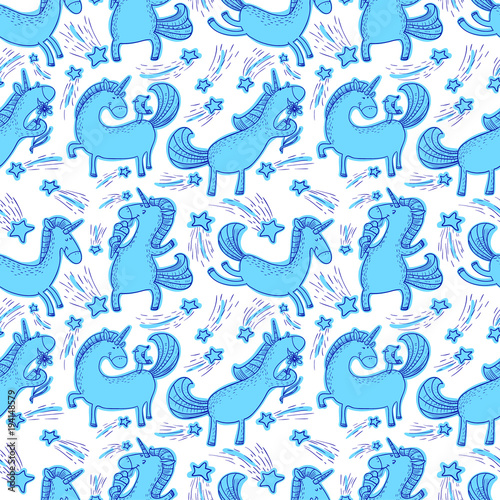 Cotton fabric Magic unicorns background. Seamless pattern with mystical horse in doodle children style.