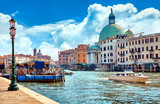 Grand Canal in Venice Italy. Panoramic view to picturesque