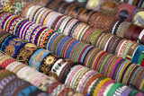 Colorful traditional Bolivian fabrics on the market - 194153591