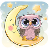 Cute Owl Girl Is Sitting On The Moon Wall Sticker