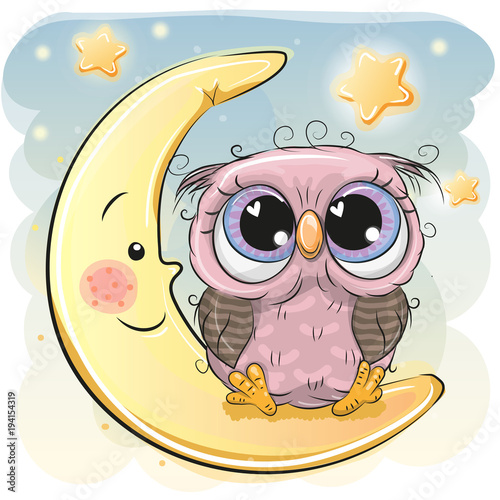 Cute Owl girl is sitting on the moon