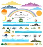 Sea island constructor. Ocean and islands, surf beach and seascape creator set vector illustration