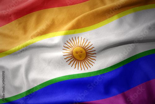 Foto op Canvas Buenos Aires waving argentina rainbow gay pride flag banner