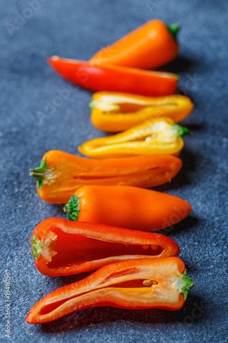 Aluminium Hot chili peppers pepper yellow and orange at baton table