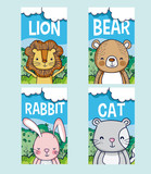 Cute animals cartoon cards