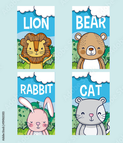 Fototapeta Cute animals cartoon cards
