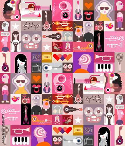 Fotobehang Abstractie Art Musical pop art collage