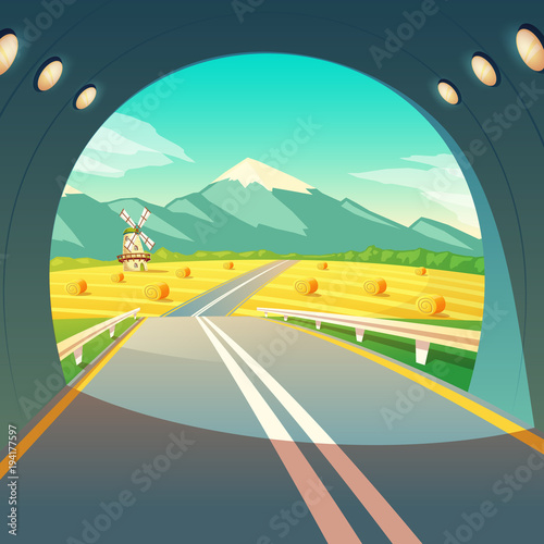 Vector illustration of summer village landscape, view from the exit of road tunnel. Countryside with windmill, wheat field with sky and mountains. Harvest, crop, agriculture, rural farmland template