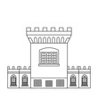 The Medieval Tower of Dublin Castle. Irish fortress vector illustration in flat line style. Stronghold in the capital of Ireland - top rated attraction image in outline design. - 194179566