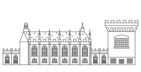 Dublin Castle - Irish government complex with Record Tower and Chapel Royal. Popular attractions and showplaces of Ireland in line design. Illustration of stronghold and church in outline style.