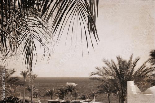 Artwork in retro style, Sea landscape, Egypt, Sharm El-Sheikh