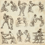 Box. Boxing Sport. Collection of boxing positions of some sportmen. An hand drawn set. - 194183974