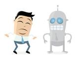 Businessman Skeptical Of Robots Wall Sticker