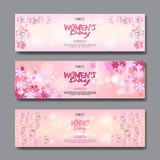 8 March Party Invitations Set Happy Womens Day Background Horizontal Banner Beautiful Holiday Decoration Vector Illustration