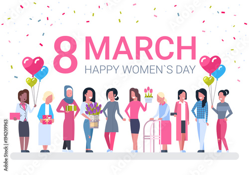 Foto op Canvas Wanddecoratie met eigen foto Group Of Diverse Women, Holiday Decoration Banner For 8 March Vector Illustration